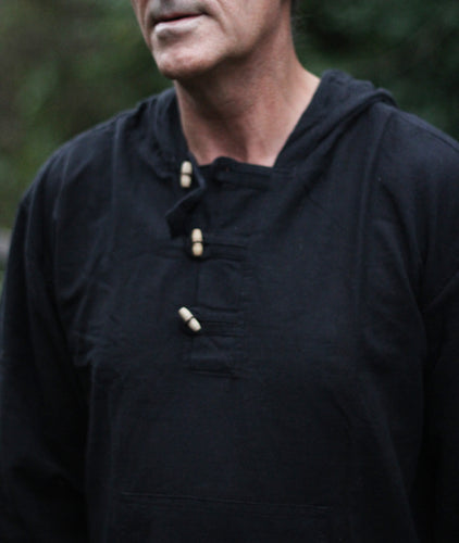 Black hooded Sherpa style shirt/express delivery/fairtrade freeshipping - Grandad shirt club