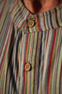 Striped shirt/good quality/collarless shirt/Express delivery