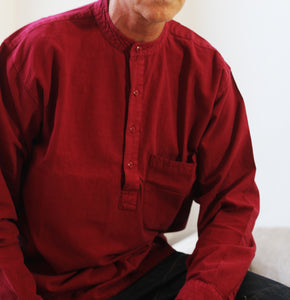 Red wine grandad shirt in half button/LARGE/EXPRESS DELIVERY freeshipping - Grandad shirt club
