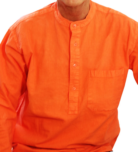 Orange Collarless shirt/100 percent cotton/Express Delivery freeshipping - Grandad shirt club