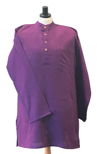 Banke.B Collarless Shirt – Purple.  EXPRESS DELIVERY - Grandad shirt club
