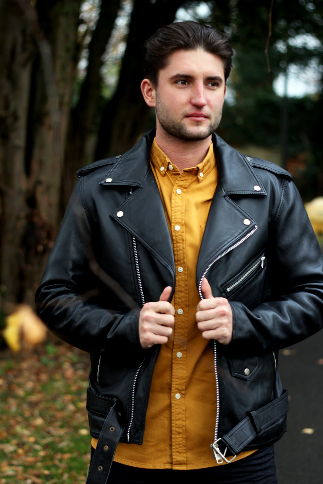 Black leather Jacket/Express delivery/Mens fashion