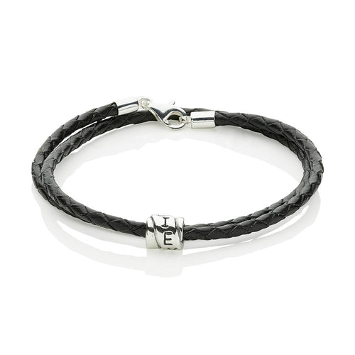 'Believe' Leather and Sterling Silver Bracelet - Grandad shirt club