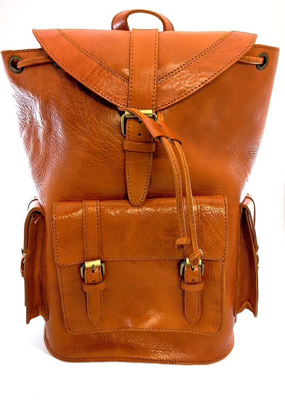 Large spacious outdoor Heavy duty leather Backpack/unisex leather bag - Grandad shirt club