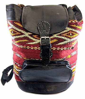 Bohemian Berber handmade Moroccan leather Ruck Sack/mens leather bag - Grandad shirt club