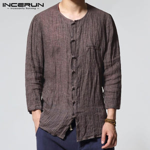 Vacation Beach 100%Cotton Men's Casual Shirts Traditional S-3XL Crew Neck Three Quarter Thin Loose Fit Shirts Masculina INCERUN freeshipping - Grandad shirt club