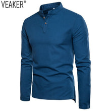 Cargar imagen en el visor de la galería, 2020 Autumn New Men's Cotton Linen shirts  Slim Fit Long Sleeve shirt Tops Men Solid Color Breathable Linen shirt - Grandad shirt club