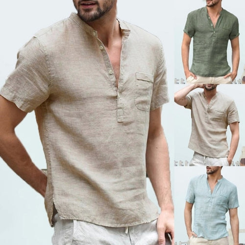 Cotton linen shirt freeshipping - Grandad shirt club