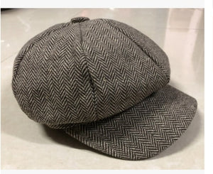 2019 Fashion Unisex Women Men's Tweed Herringbone Newsboy Cap Cabbie Unisex Peaky Blinders Baker Women cap Hat men Winter hat freeshipping - Grandad shirt club