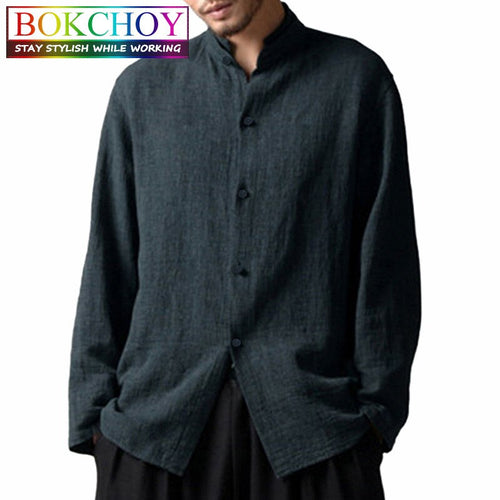 2020 new Shirt Chinese style Tang suit Casual stand male Solid color Cotton and linen t-shirt freeshipping - Grandad shirt club