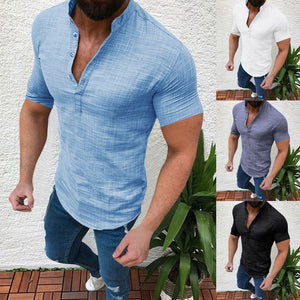 Summer Plus Size Men's Causal Solid Cotton Linen Loose Tops. DELIVERY 2-3 WEEKS - Grandad shirt club