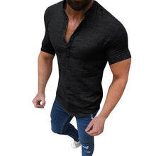 Load image into Gallery viewer, Summer Plus Size Men's Causal Solid Cotton Linen Loose Tops. DELIVERY 2-3 WEEKS - Grandad shirt club