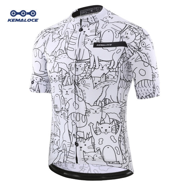 Breathable Unisex White Cartoon Cat Cycling Jersey Spring Anti-Pilling Eco-Friendly Bike Clothing Road Team Bicycle Wear Shirts - Grandad shirt club