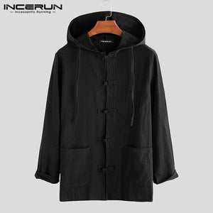 INCERUN Vintage Men Shirt Long Sleeve Cotton Hooded Solid 2020 Streetwear Button Tops Hanfu Retro Chinese Style Casual Men Shirt - Grandad shirt club