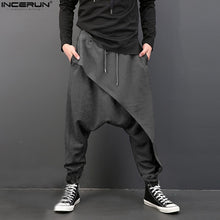 Cargar imagen en el visor de la galería, INCERUN Plus Size Men Casual Drape Drop Crotch Harem Hip-hop Pants Trouser Baggy Dancing Pants Gothic Punk Style Harem Pants Men