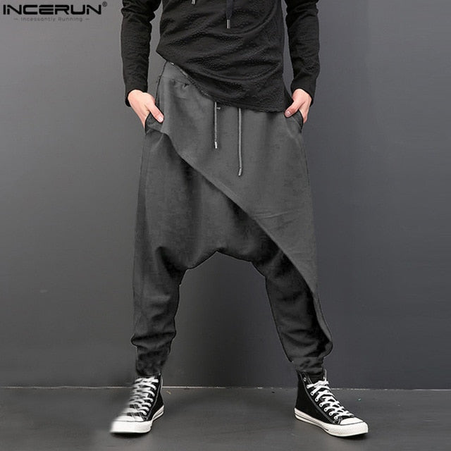 INCERUN Plus Size Men Casual Drape Drop Crotch Harem Hip-hop Pants Trouser Baggy Dancing Pants Gothic Punk Style Harem Pants Men