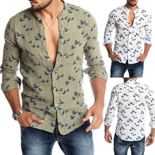Load image into Gallery viewer, Spring Autumn Casual Men Pigeon Print Buttons Long Sleeve Fashion Pure Shirt Linen Slim Top hot sales comfortable For Men shirt - Grandad shirt club