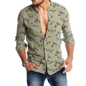 Spring Autumn Casual Men Pigeon Print Buttons Long Sleeve Fashion Pure Shirt Linen Slim Top hot sales comfortable For Men shirt - Grandad shirt club