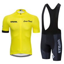 Load image into Gallery viewer, 2020 STRAVA Pro Team summer cycling Jersey set Bicycle Clothing Breathable Men Short Sleeve shirt Bike bib shorts 20D Gel pad - Grandad shirt club