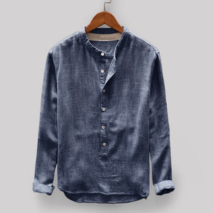 Men Shirt Long Sleeve Fashion Mens Autumn Winter Button Casual Linen And Cotton Long Sleeve Top Male Blouse Camisas Hombre 2020/longer delivery freeshipping - Grandad shirt club