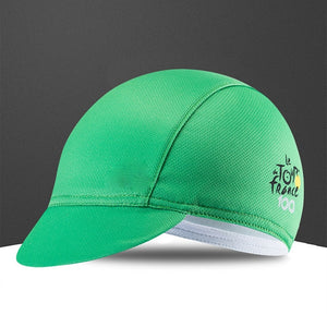 a green hat sitting on top of a green bag