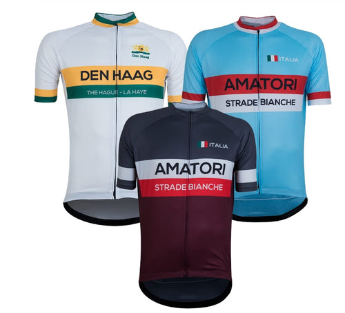 Italy Men Retro Cycling clothing The Hague New Cycling Jersey Bike Team Race Tops Clothing Breathable - Grandad shirt club