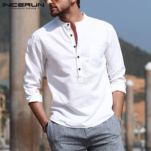 INCERUN Men's Casual Shirt Cotton Solid Color Long Sleeve shirt
