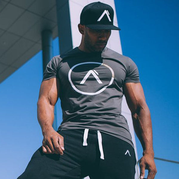 Men summer style T-shirt gyms Fitness Bodybuilding Shirts