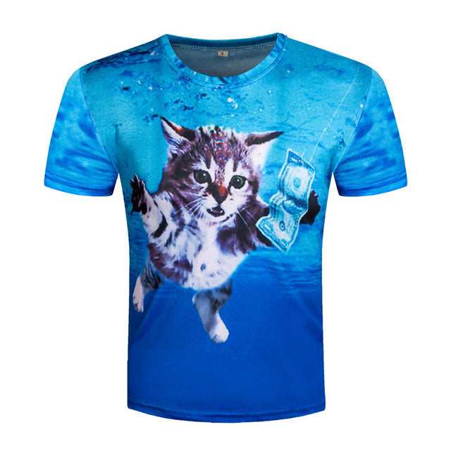 Milk Printed 3D T-shirts Men Top Tees Milk Cup
