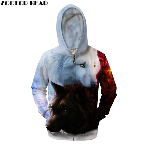 3D Unisex Zip UP Wolf Hoodies Brand Hooded Zipper