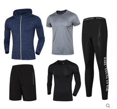 New Vansydical Mens Sport Suit Running Suits 5pcs Men Gym