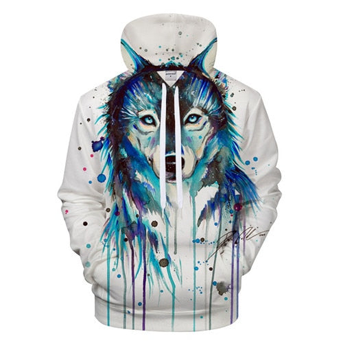 Ice Wolf by Pixie cold Art Hoodies Men Sweatshirts 3D Wolf