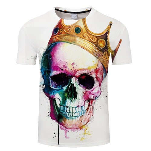 Skull Crown 3D Print t shirt  tshirt Summer