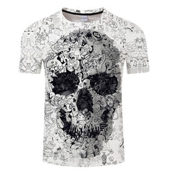 White t shirt 3D Skull tshirt Men T-shirt Male Top