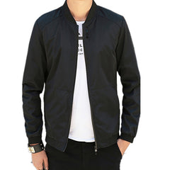 Spring Autumn Casual Black Solid Fashion Slim Men