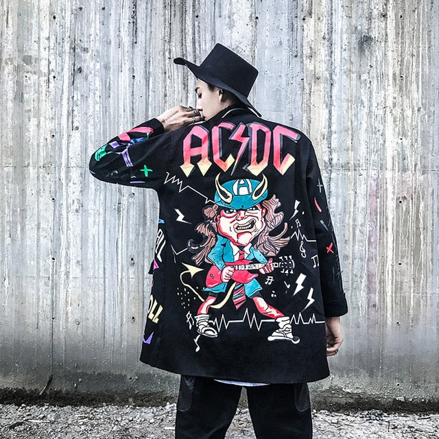 AELFRIC 2018 Autumn Winter Men Jackets Coats 3d Graffiti