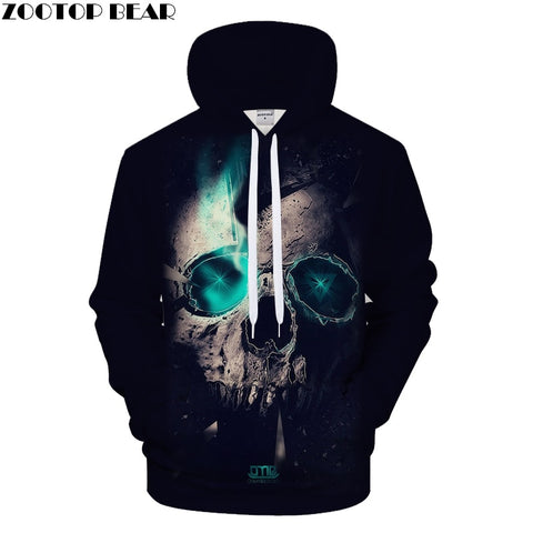 Blue Light Skull Hoodies Men 3D Hoody Male