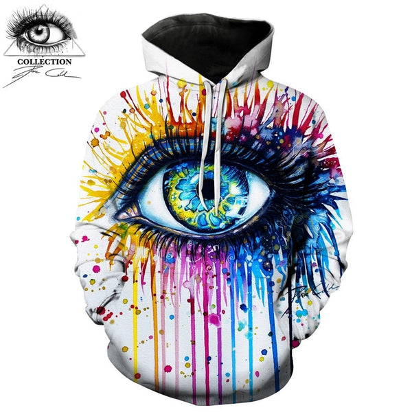 Rainbow eye By Pixie cold art Autumn Sweatshirts Men Hoodies
