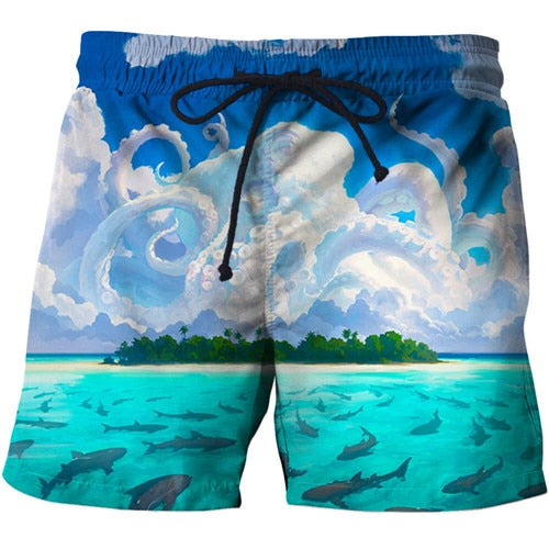 Painting Printed Beach Shorts Men Shorts Plage 3d
