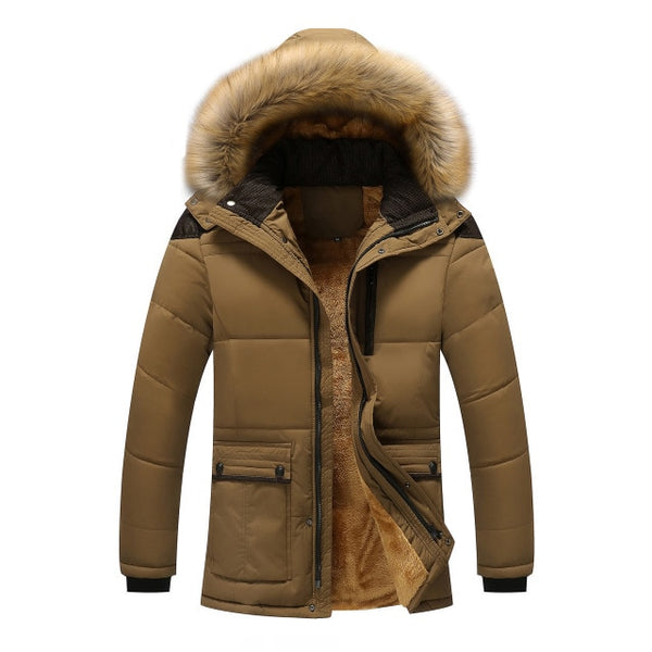 M-5XL Fur Collar Hooded Men Winter Jacket 2018 New Fashion Warm - ar-sho.com