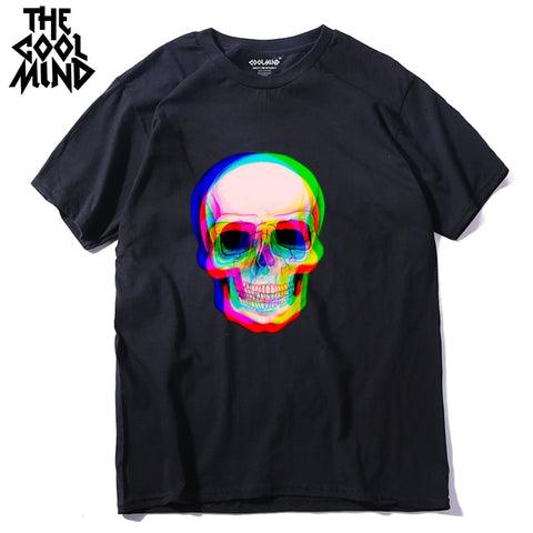 COOLMIND qi0410A 100% cotton short sleeve skull men T shirt - ar-sho.com