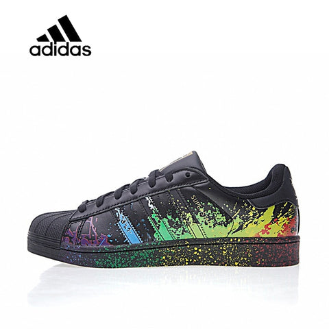 Original New Arrival Official Adidas Clover Originals LGBT Superstar Black / Gold - ar-sho.com