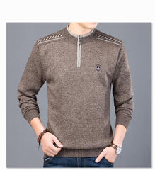 Men Sweaters Thick Warm Winter Zipper Sweater Cashmere - ar-sho.com
