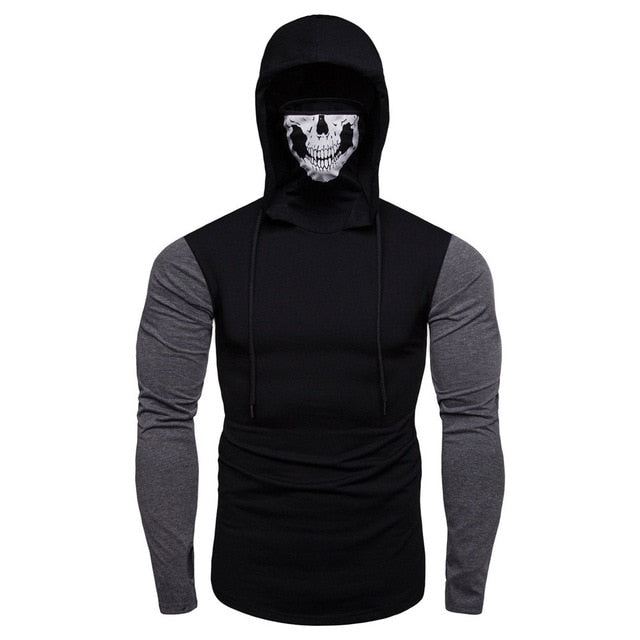 Fashion Hoodies Sweatshirt Men Mask Skull Splicing Pullover - ar-sho.com