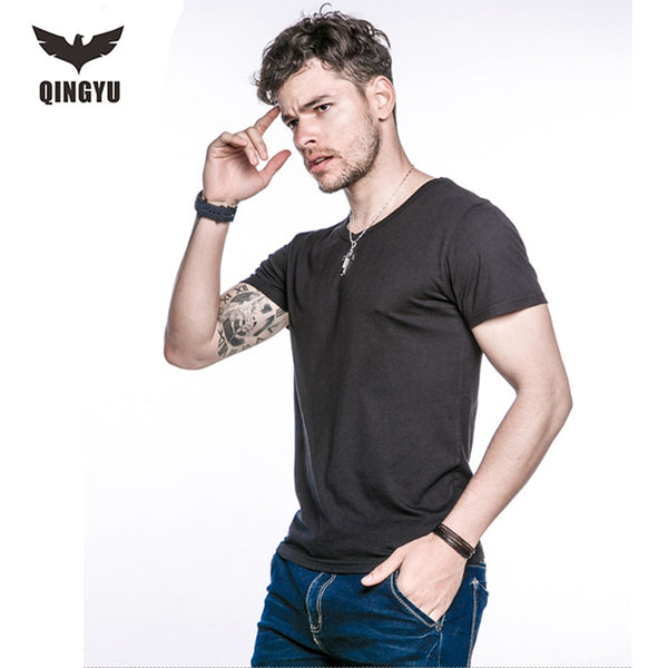 QINGYU Men's Tops Tees 2018 summer new cotton