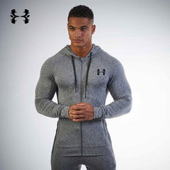 Men Sport Jacket Stretch Long Sleeve Sweater Hooded