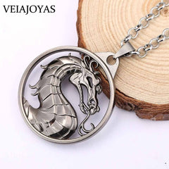 Statement Necklace Game Mortal Kombat Stainless Steel Dragon