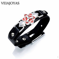 9 Anime Leather Charms Bracelets One Piece Naruto Black