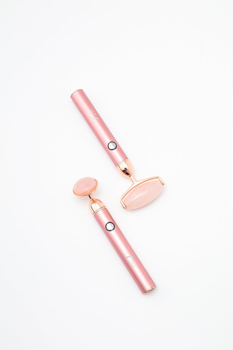 Next Generation Rechargable Dual Headed Rose Quartz Roller with USB Electronic facial massager Scilla Rose