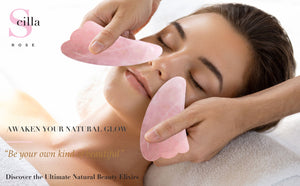 Rose Quartz Guasha-Anti Ageing & Contouring Facial Sculptor facial massager Scilla Rose